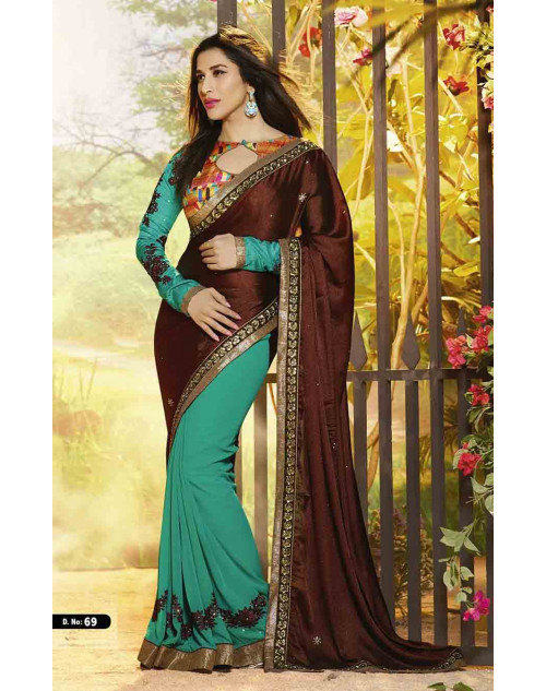Sophie Choudry Green and Brown Satin Jacquard and Georgette Saree