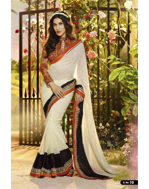 Sophie Choudry Coral and Off-white Georgette Saree