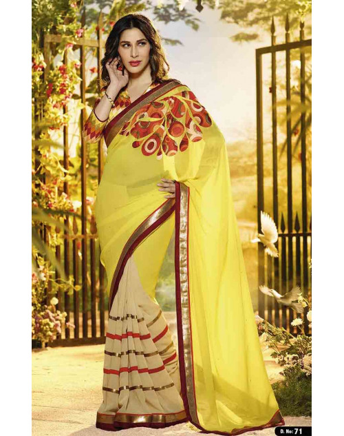 Sophie Choudry Yellow Chiffon and Georgette Saree
