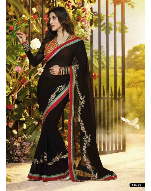 Sophie Choudry Black Georgette Saree