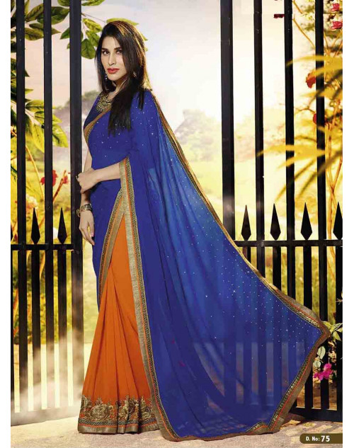 Sophie Choudry Multi and Blue Georgette Saree