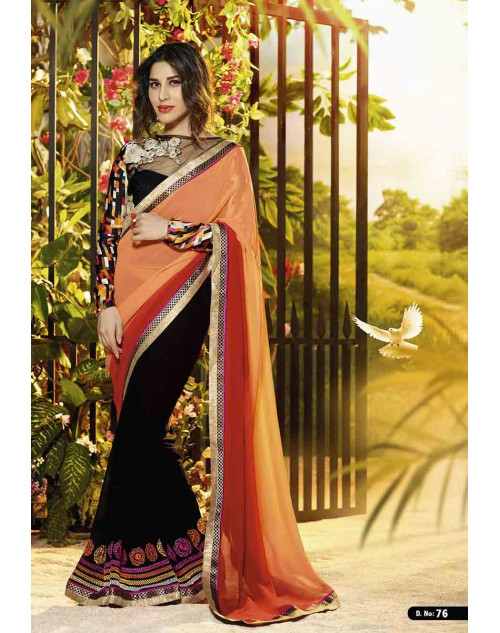 Sophie Choudry Black and Coral Georgette Saree