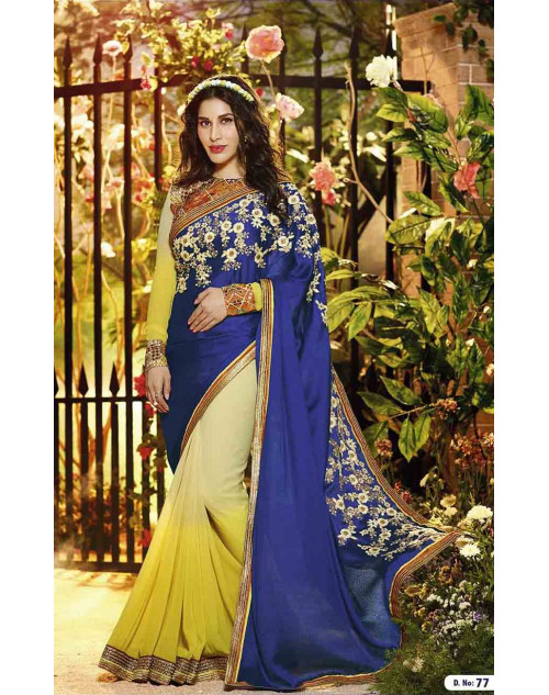 Sophie Choudry Yellow and Blue Satin Jacquard and Georgette Saree