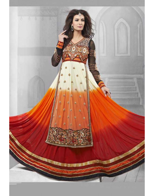 White and Coral Faux Georgette and Net Salwar Kamiz