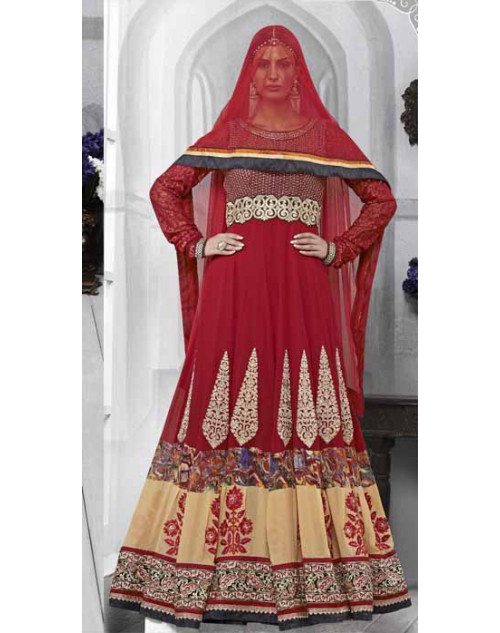 Red Faux Georgette Salwar Kamiz
