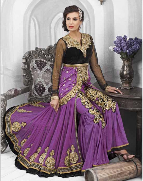 Black and Purple Velvet and Net Salwar Kamiz