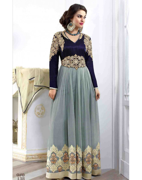 Blue and Grey Georgette and Velvet Salwar Suit