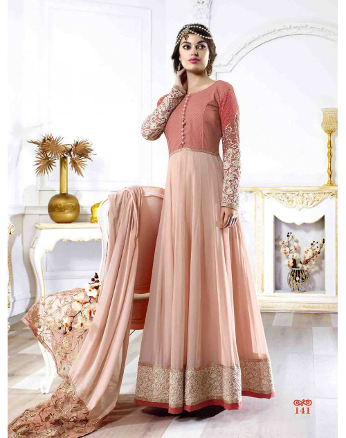 Coral and LightPink Georgette Salwar Suit