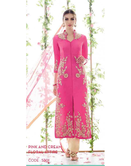 Pink and Cream Cotton Satin Salwar Suit