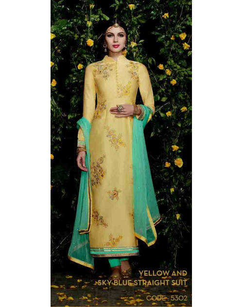 Yellow Cotton Satin Straight Suit
