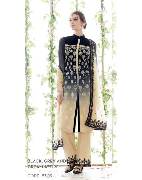 Black and Cream Pure Georgette Salwar Suit