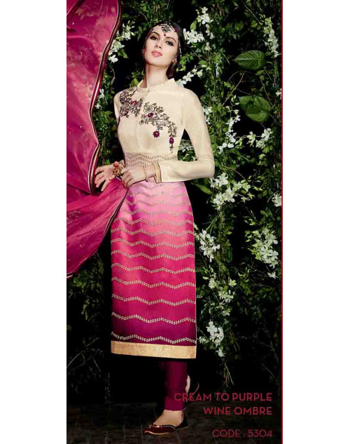 Cream and Purple Cotton Satin Salwar Suit