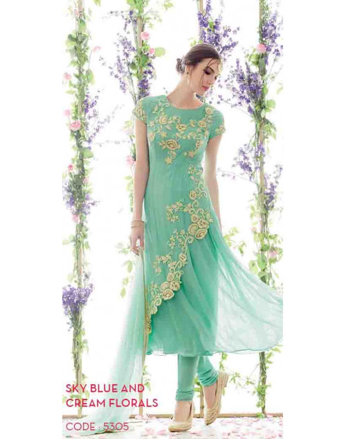 SkyBlue and Cream Pure Georgette and Net Salwar Suit
