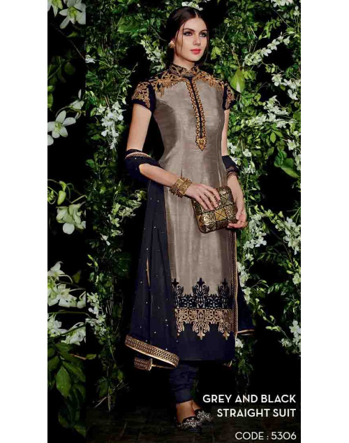 Grey and Black Bangalori Silk Straight Suit