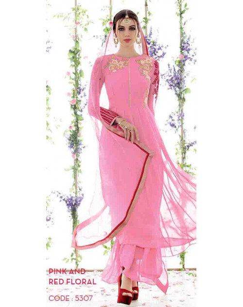 Pink and Red Pure Georgette Salwar Suit