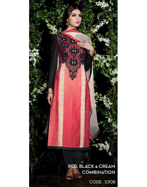 Red and Black Cotton Satin Salwar Suit