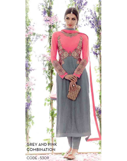 Grey and Pink Cotton Satin Salwar Suit
