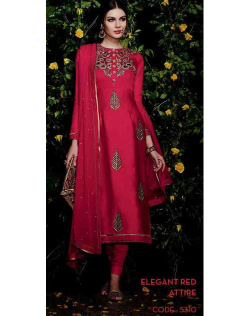 Red Cotton Satin Salwar Suit