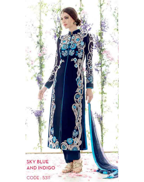 SkyBlue and Indigo Pure Georgette Salwar Suit