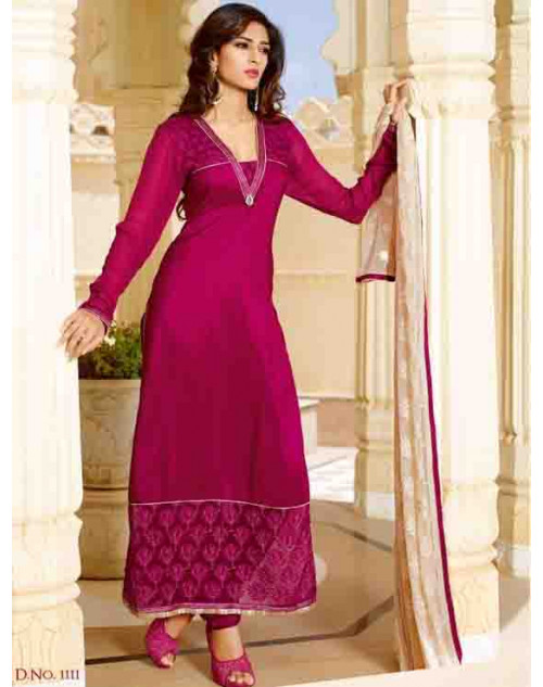 FireBrick Tassar Silk and Georgette Salwar Suit