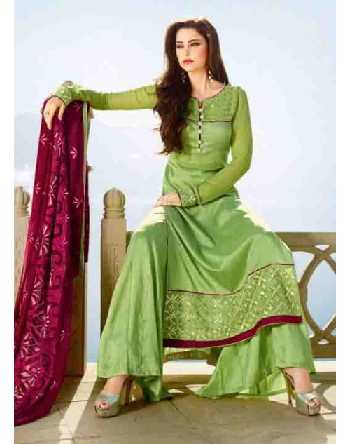 Green Tassar Silk and Georgette Salwar Suit