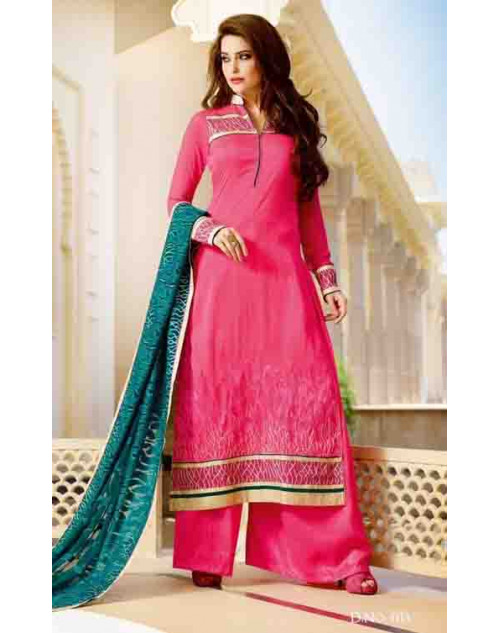 Pink Tassar Silk and Georgette Salwar Suit