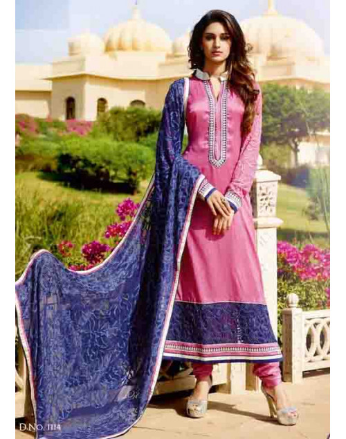 Magenta Tassar Silk and Georgette Salwar Suit