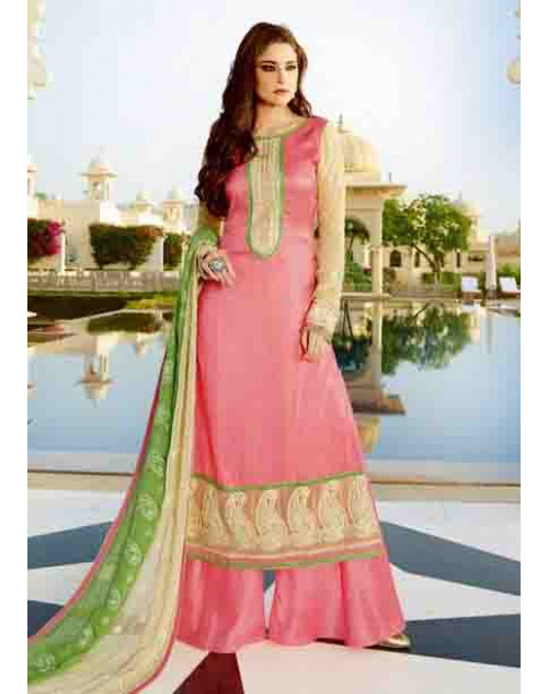 Pink and Green Tassar Silk and Georgette Salwar Suit