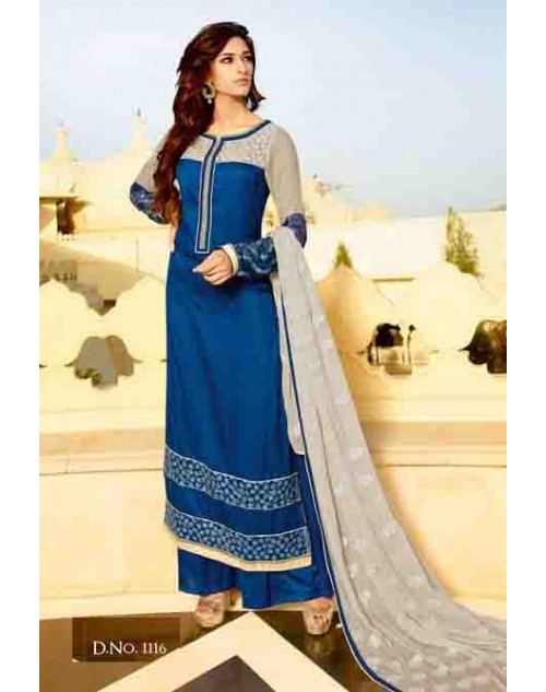 Blue Tassar Silk and Georgette Salwar Suit