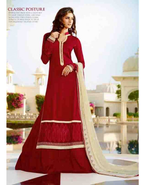 Maroon Tassar Silk and Georgette Salwar Suit
