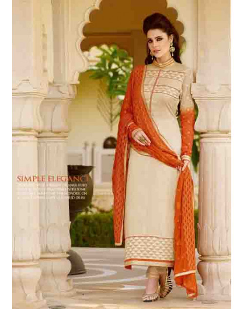 Cream Tassar Silk and Georgette Salwar Suit