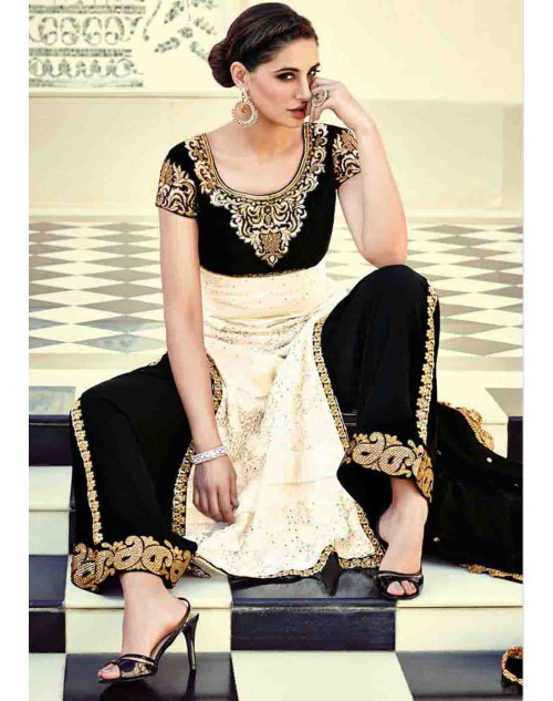 Nargis Fakhri Cream Semi Stitched Viscose and Net Embroidered Straight Suit