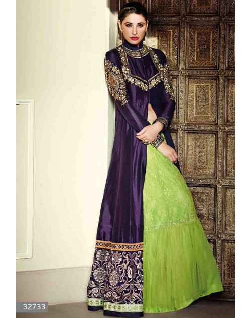 Nargis Fakhri Navy Semi Stitched Bhagalpuri Silk Embroidered Anarkali Suit