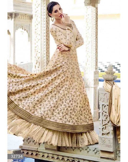Nargis Fakhri Cream Semi Stitched Georgette Embroidered Anarkali Suit