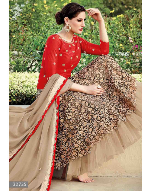 Nargis Fakhri Red Semi Stitched Silk and Net Embroidered Anarkali Suit