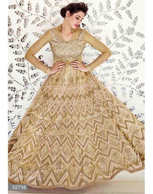 Nargis Fakhri Cream Semi Stitched Net Embroidered Anarkali Suit