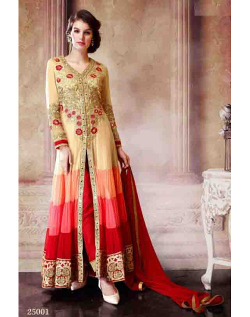 Cream and Red Faux Georgette Dress Materials