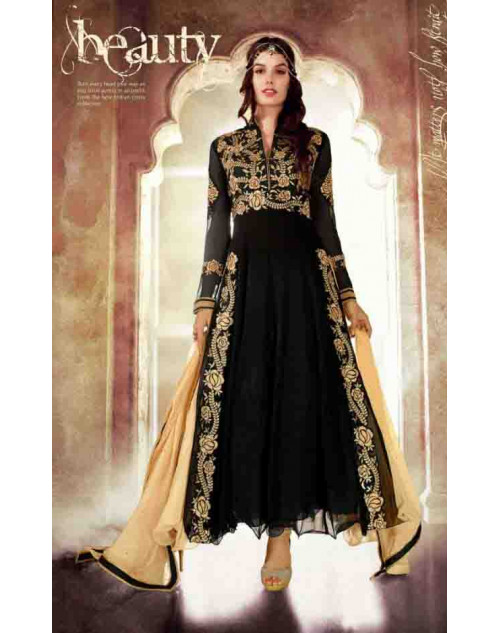 Black Faux Georgette Dress Materials