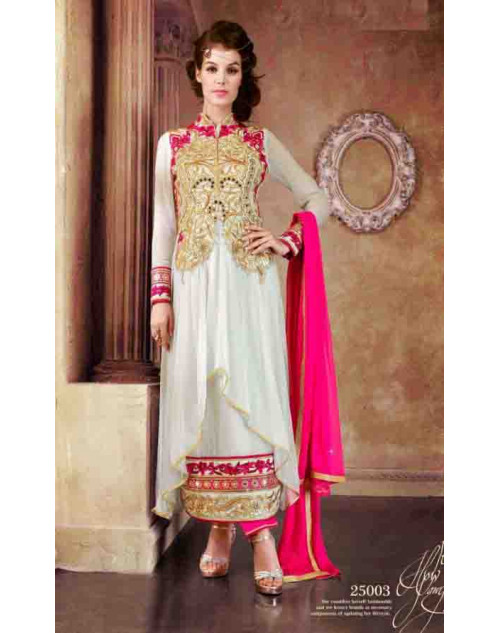 White and Pink Faux Georgette Dress Materials