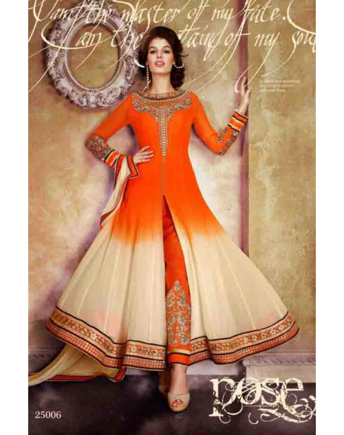 Orange and Moccasin Faux Georgette Dress Materials