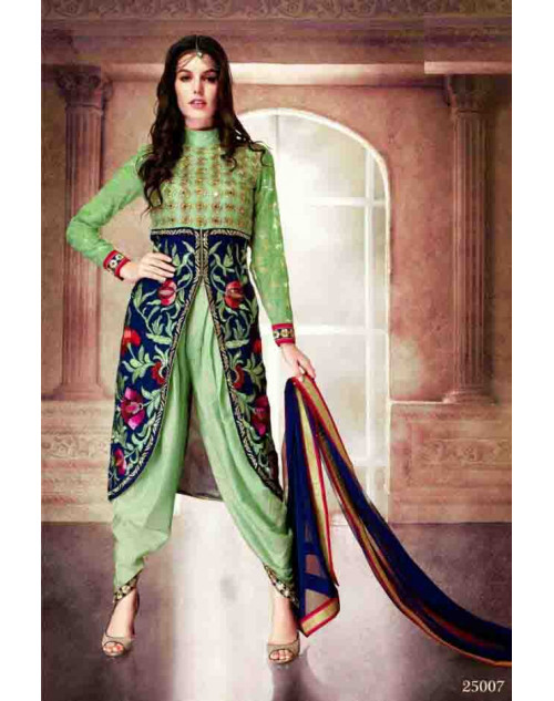 Green and Blue Faux Georgette Dress Materials