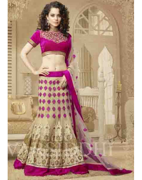 Kangana Ranaut DeepPink Net and Brocket Lehenga Choli