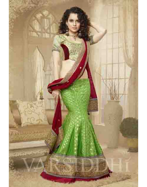 Kangana Ranaut Cream and Green Net and Brocket Lehenga Choli