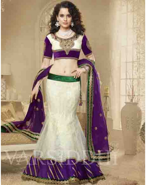 Kangana Ranaut Off-white and Purple Net and Brocket Lehenga Choli