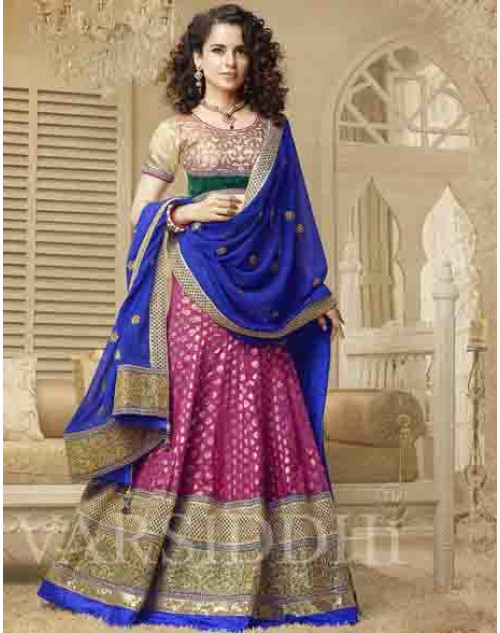 Kangana Ranaut Blue and Pink Net and Brocket Lehenga Choli