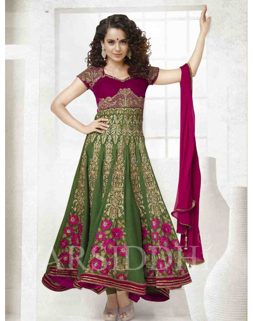 Kangana Ranaut Green and Maroon Pure Georgette Dress Materials