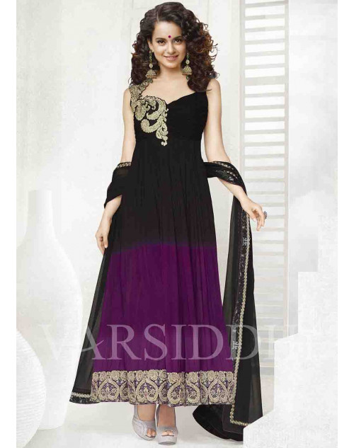 Kangana Ranaut Black and Purple Pure Chiffon Dress Materials
