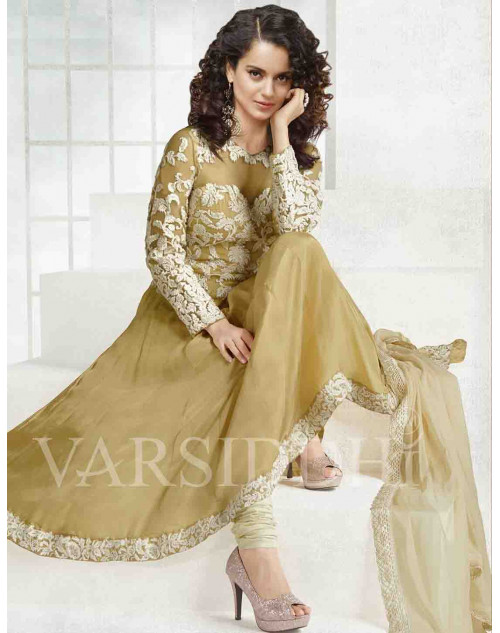 Kangana Ranaut Burlywood Pure Georgette Dress Materials