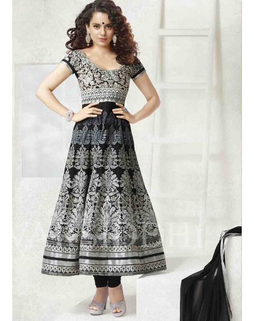 Kangana Ranaut Black and White Pure Georgette Dress Materials