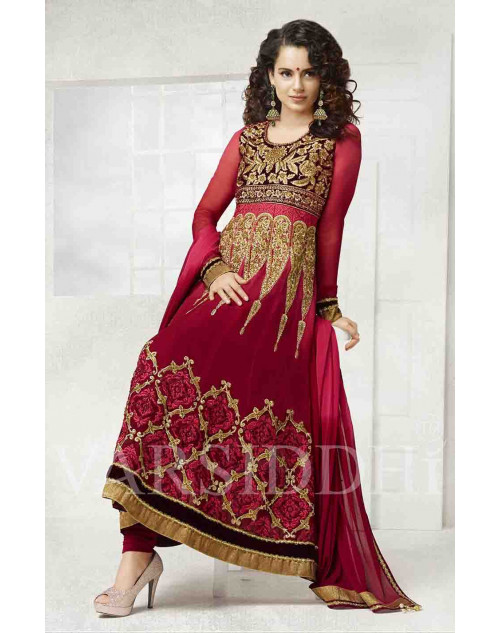 Kangana Ranaut Red Pure Georgette Dress Materials